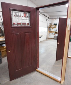 Entry door w/ Mahogany stain and art glass insert